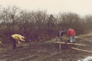 Work party planting trees and making a road on ACA land, 1979.
