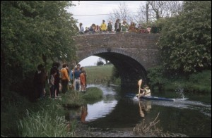 Canoe race in progress along the Ashby Canal, July 1972.