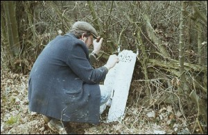 Milepost 91/2 being painted by a volunteer, 1984.