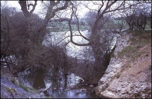 Remains of abutment of aqueduct over Gilwiskaw Brook, May 1971.